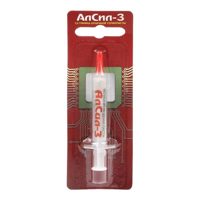 Термопаста для электронных схем и радиаторов Алсил-3, в шприце 1.5 г.