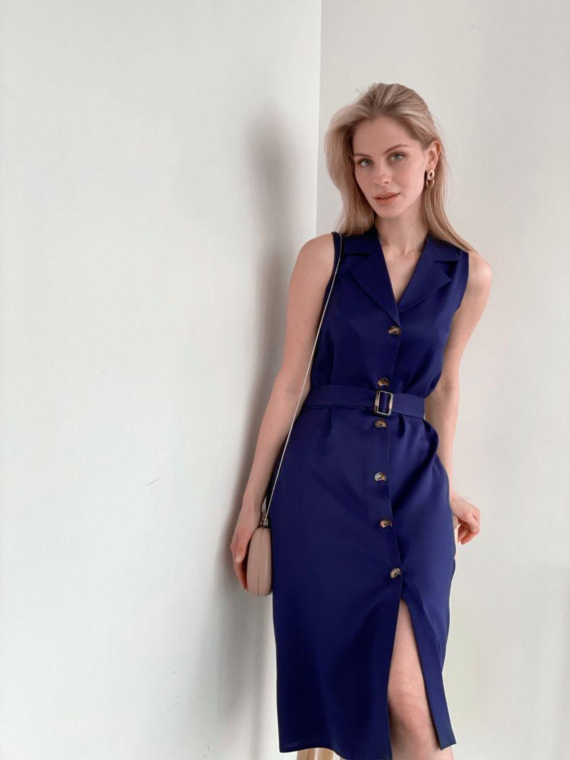 3965 Платье с английским воротником тёмно-синее