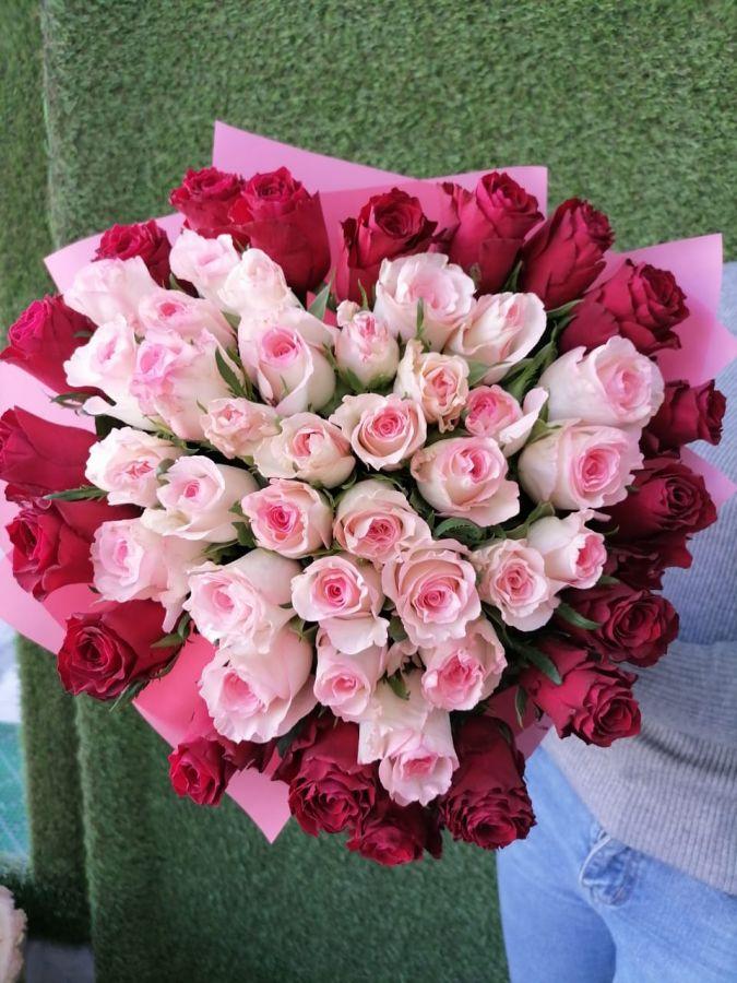 Букет сердце из 51 розы 50см