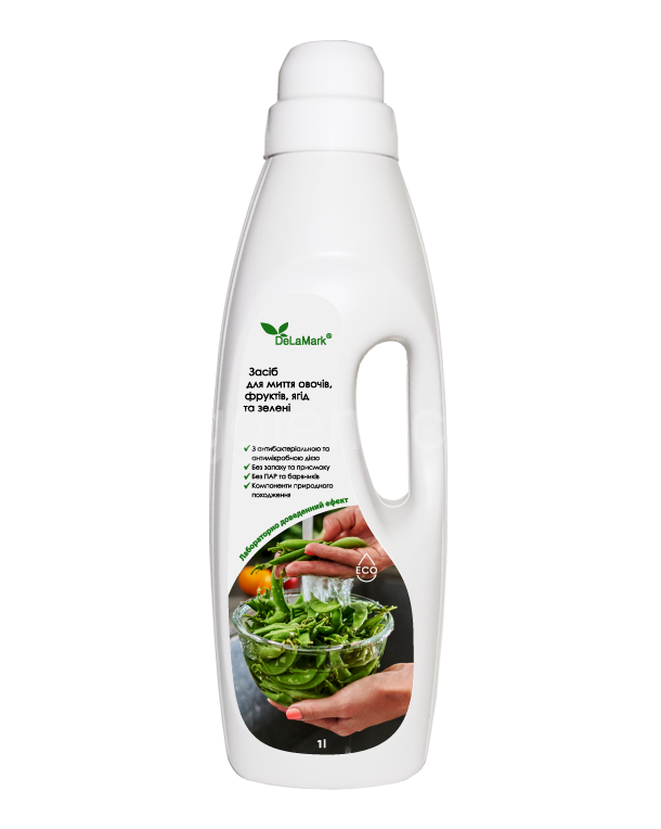 Средство с антибактериальным действием для мытья овощей, фруктов, ягод, зелени DeLaMark, 1л