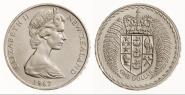 Новая Зеландия 1 доллар 1967 Герб. Шайба