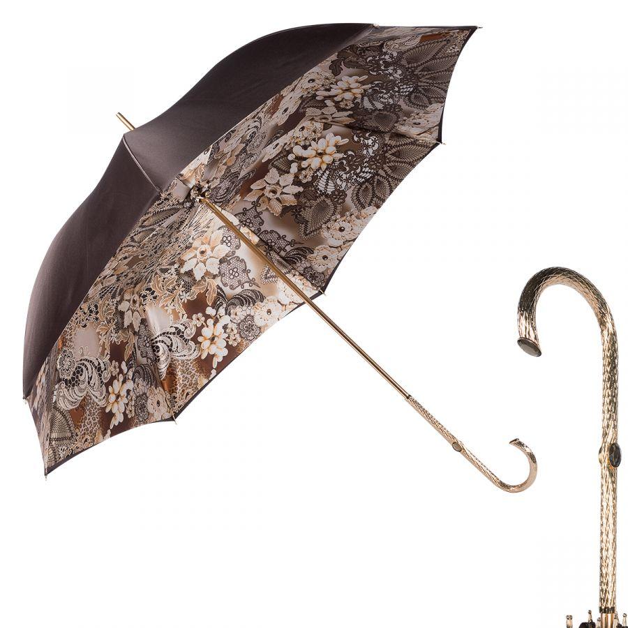 Зонт-трость Pasotti Marrone Novita Oro