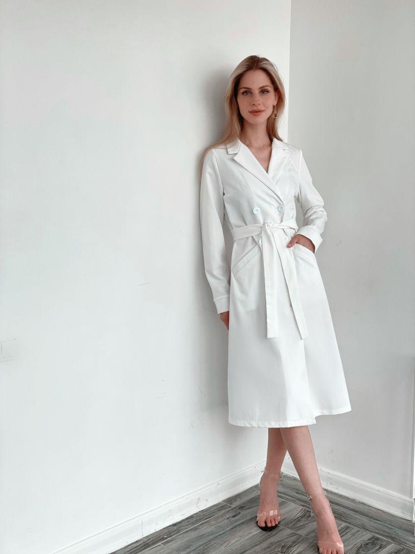 3240 Двубортное платье-жакет в цвете айвори