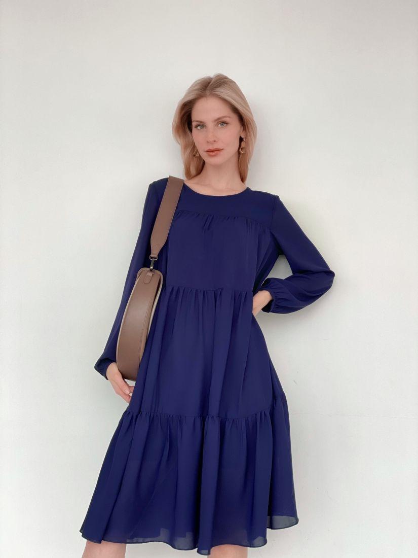 s3462 Платье из микрошифона на подкладе многоярусное тёмно-синее