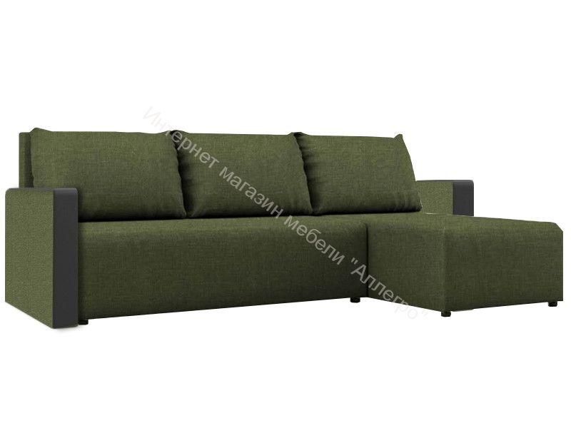 """Угловой диван """"Алиса 3"""" Savana Green/Teos Black Кат.1"""