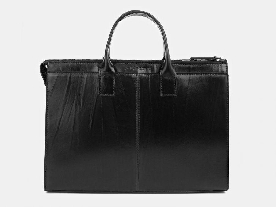 Кожаная мужская сумка из натуральной кожи Alexander-TS «PF0023 Black»