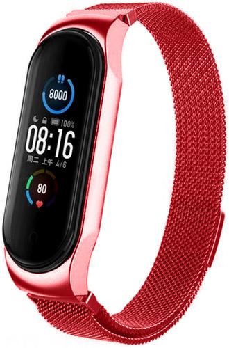 Браслет для Xiaomi Mi Band 5 миланская петля магнитный замок (красный)