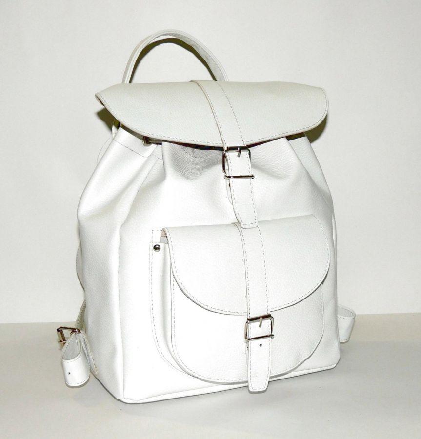 """Белый кожаный рюкзак  """"Грация"""""""