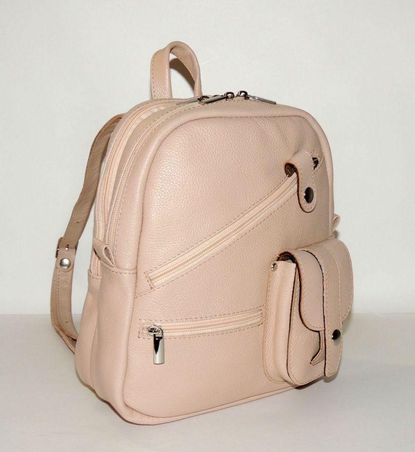 """Бежевый кожаный рюкзак-сумка   """"Зефир"""""""