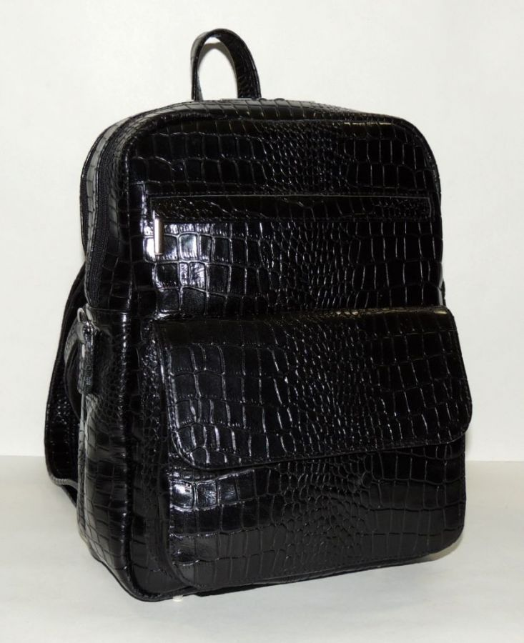 """Черная кожаная сумка-рюкзак  """"Шепот ночи"""""""