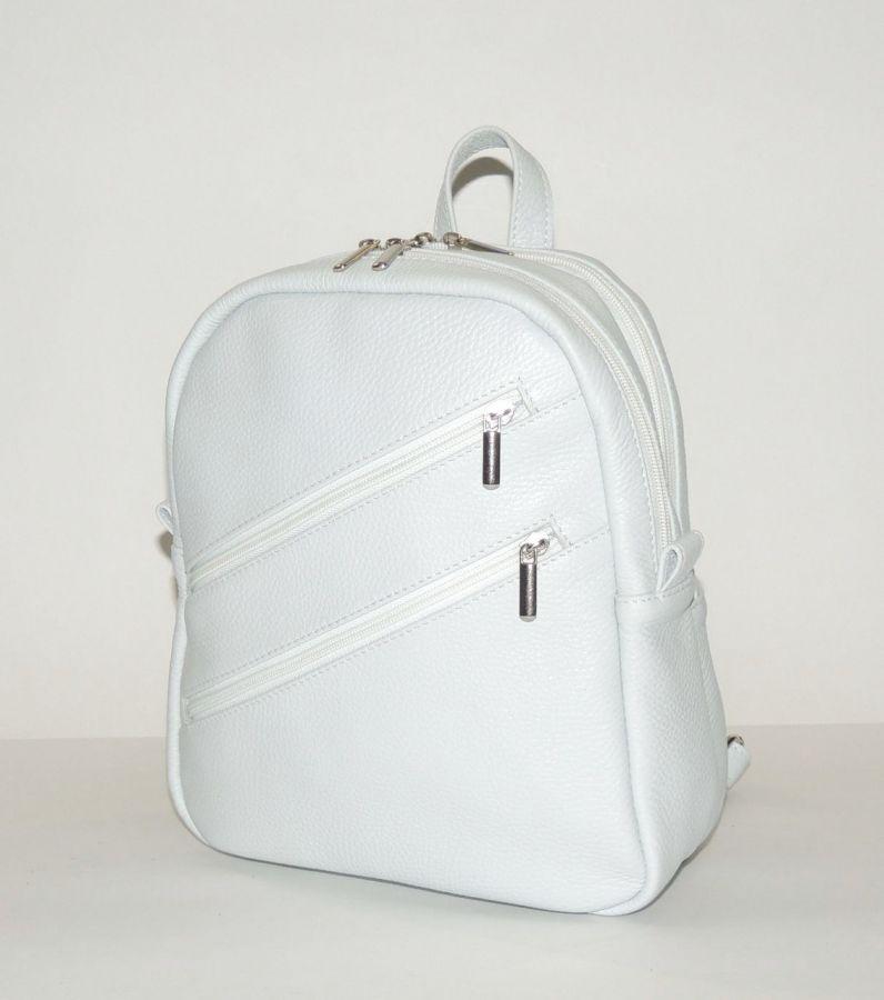 """Белый кожаный рюкзак  """"Подснежник"""""""
