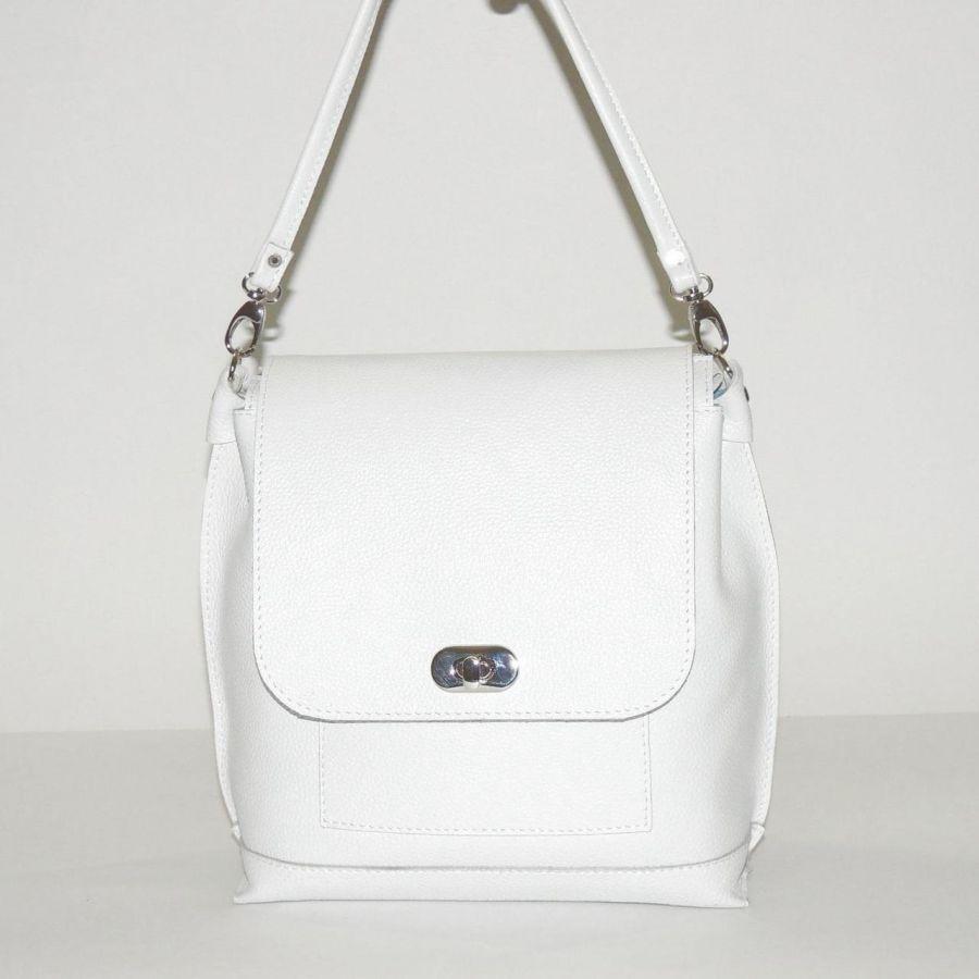 "Белая кожаная сумка-рюкзак  ""Жасмин"""