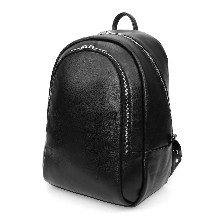 """Черный кожаный рюкзак  """"Виктория"""""""