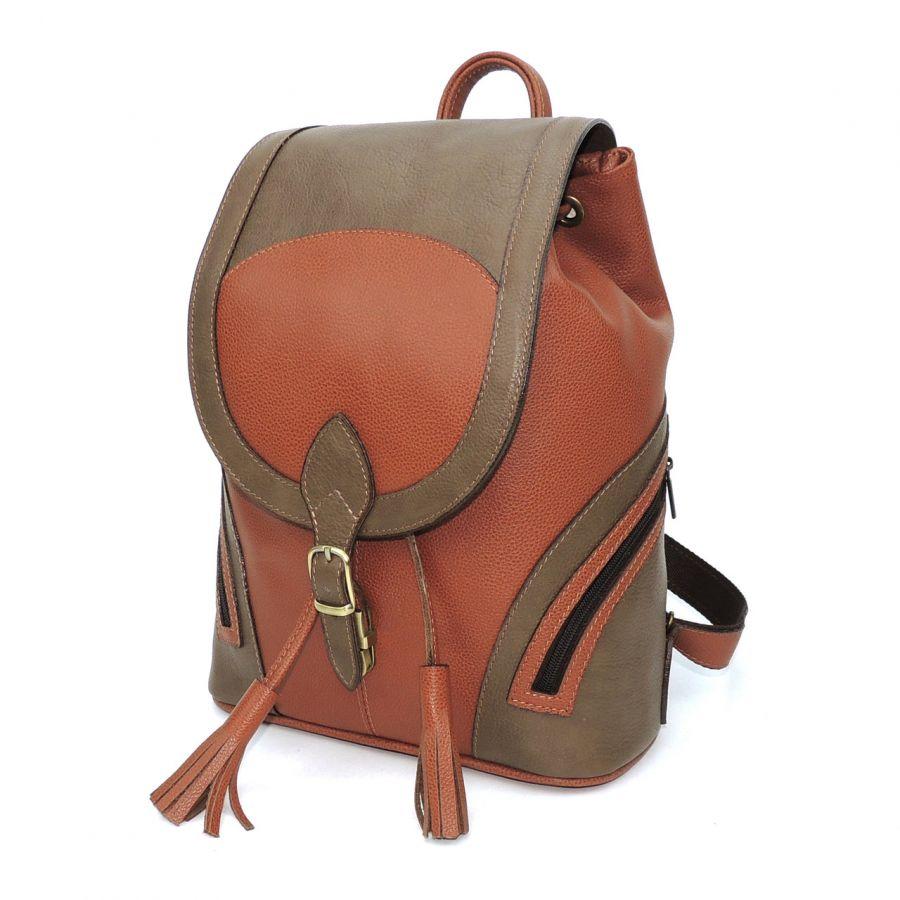 """Оранжевый кожаный рюкзак  """"Каприс"""""""