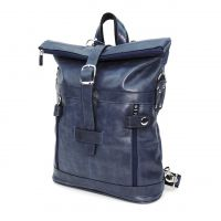 "Синяя кожаная сумка-рюкзак  ""Бора-бора"""