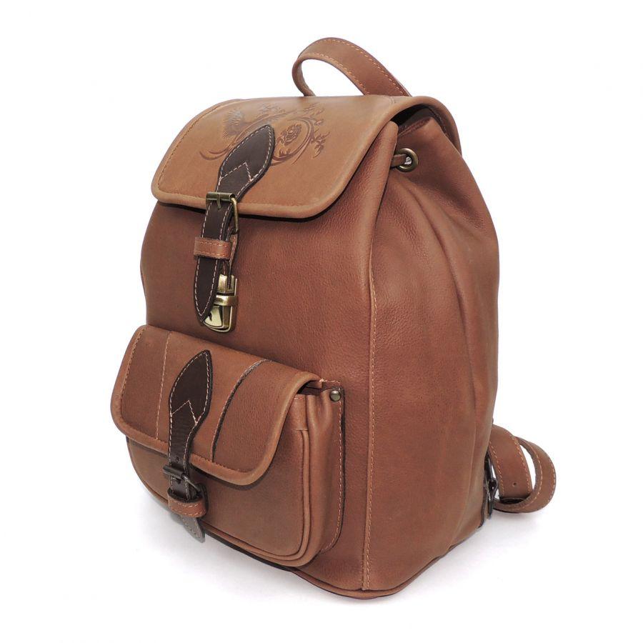 """Бежевый кожаный рюкзак  """"Злата"""""""