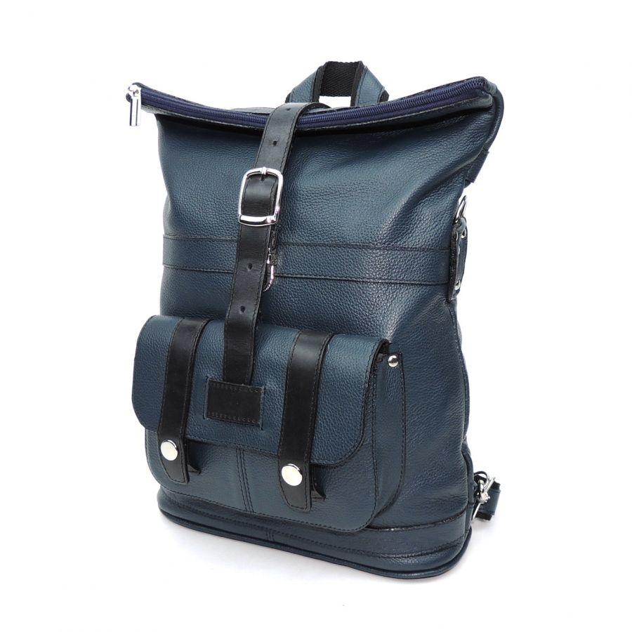 """Синяя кожаная сумка-рюкзак  """"Вито"""""""