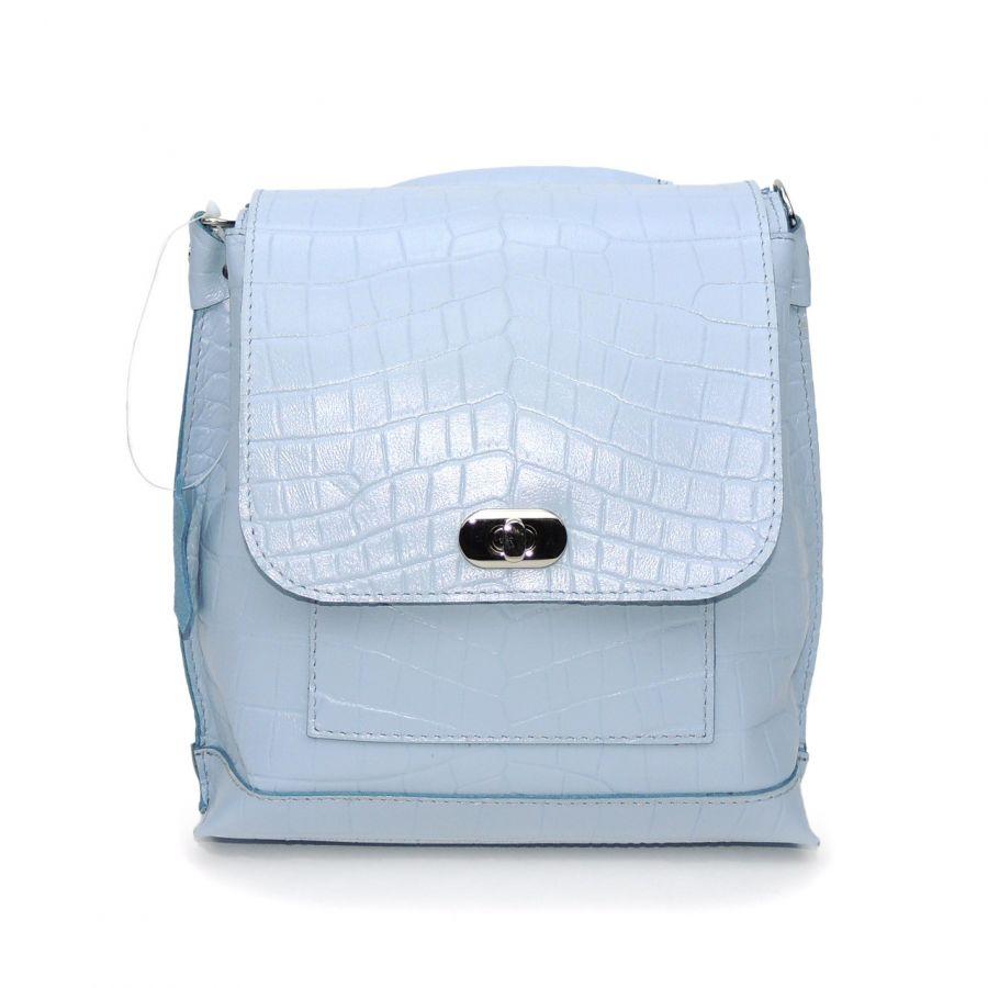 """Голубая кожаная женская сумка рюкзак  """"Амалия"""""""