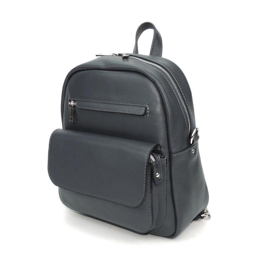 """Рюкзак-сумка кожаный серый  """"Треви"""""""