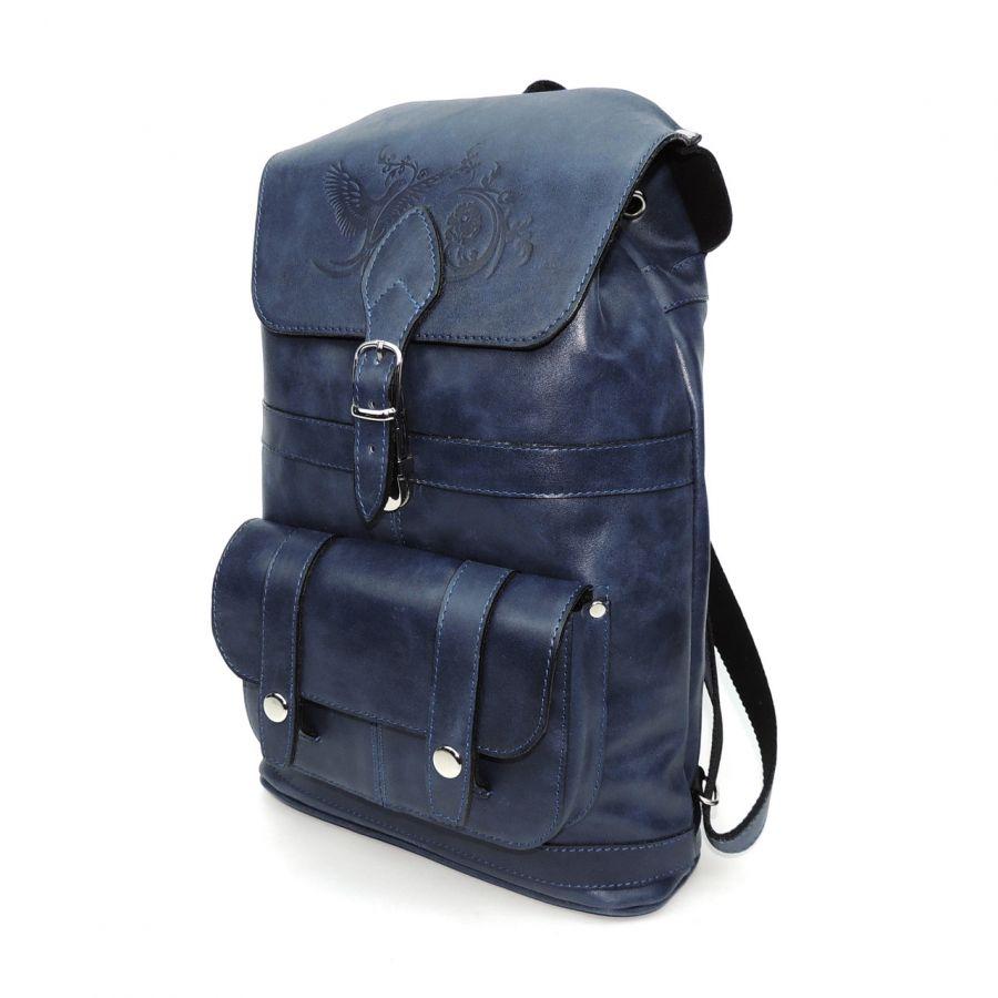 """Рюкзак кожаный синий  """"Джинсовый"""""""