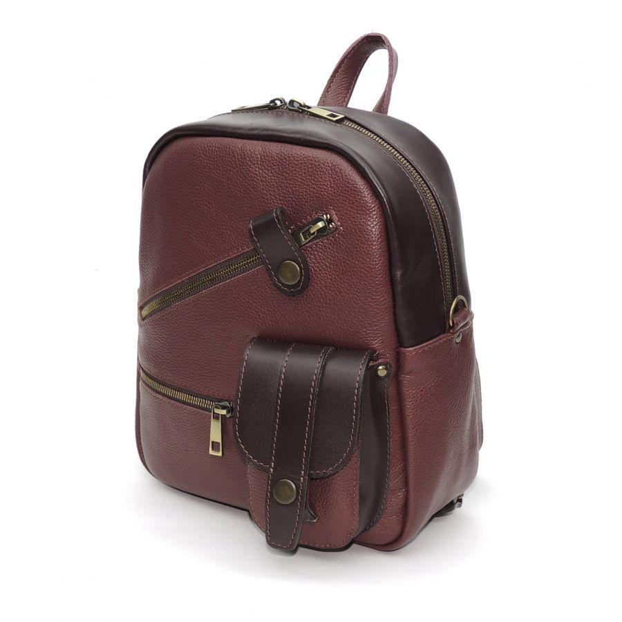 """Бордовый кожаный рюкзак сумка женский  """"Юлия"""""""