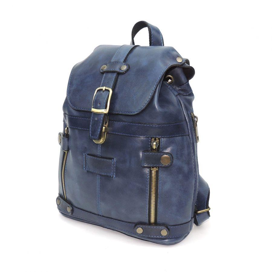 """Синий кожаный рюкзак  """"Моник"""""""