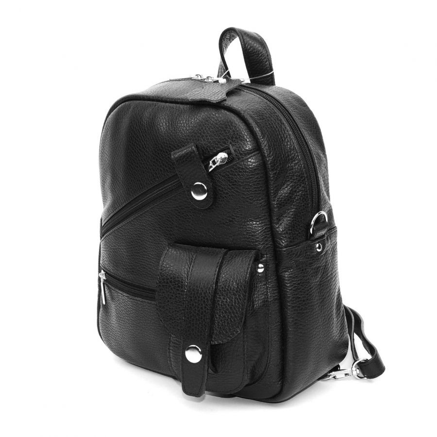 """Черная кожаная сумка-рюкзак  """"Алиса"""""""