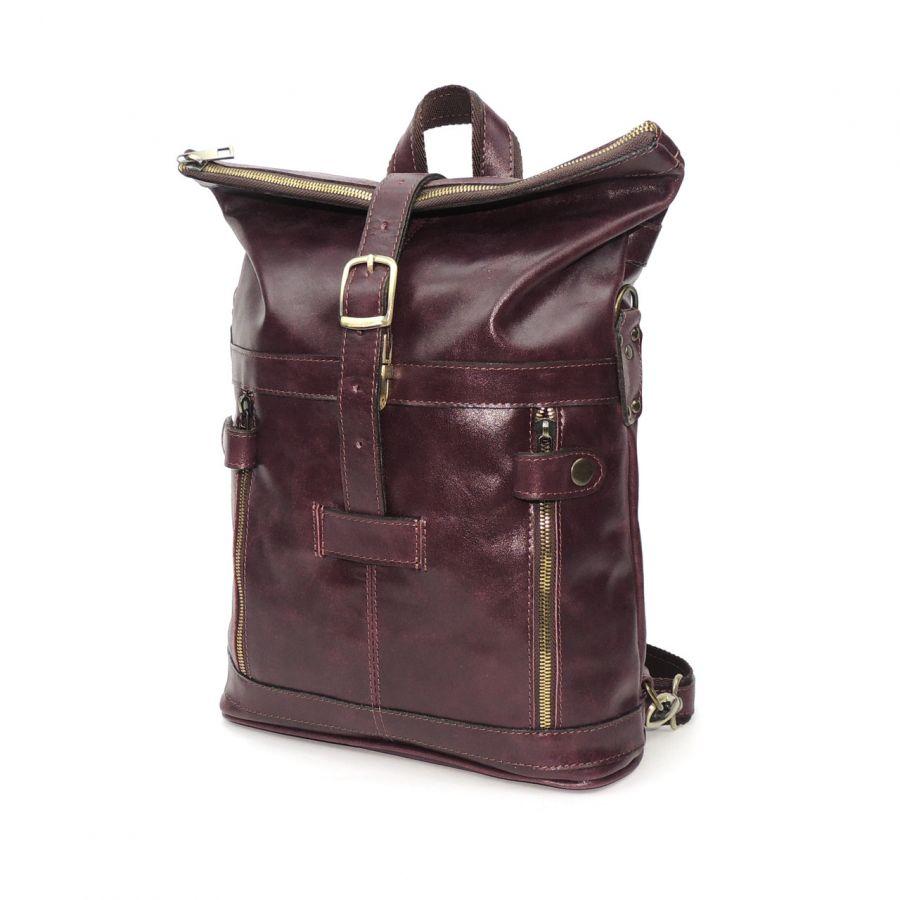 """Бордовая кожаная сумка-рюкзак  """"Сидони"""""""