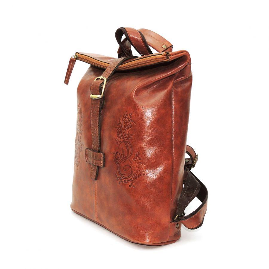 """Рыжая кожаная сумка-рюкзак  """"Пиа"""""""