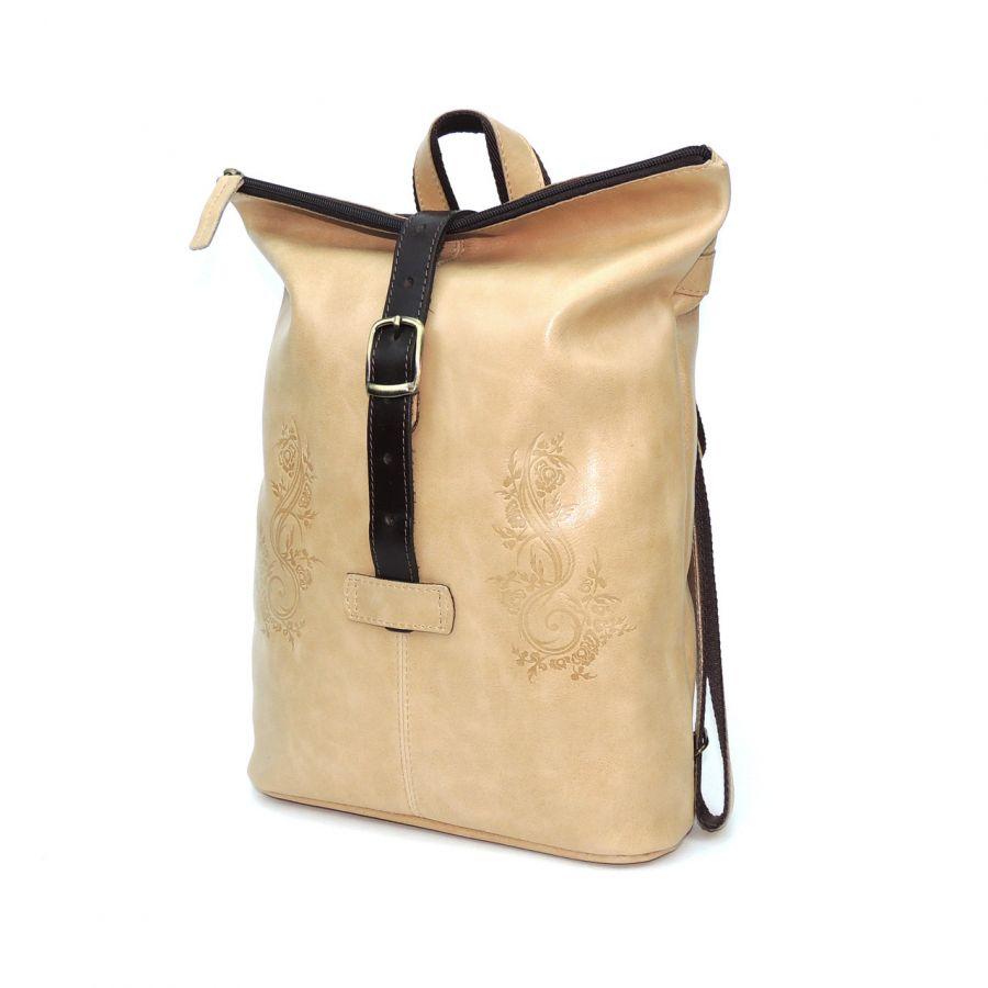 "Сумка рюкзак кожаная бежевая  ""Лиина"""