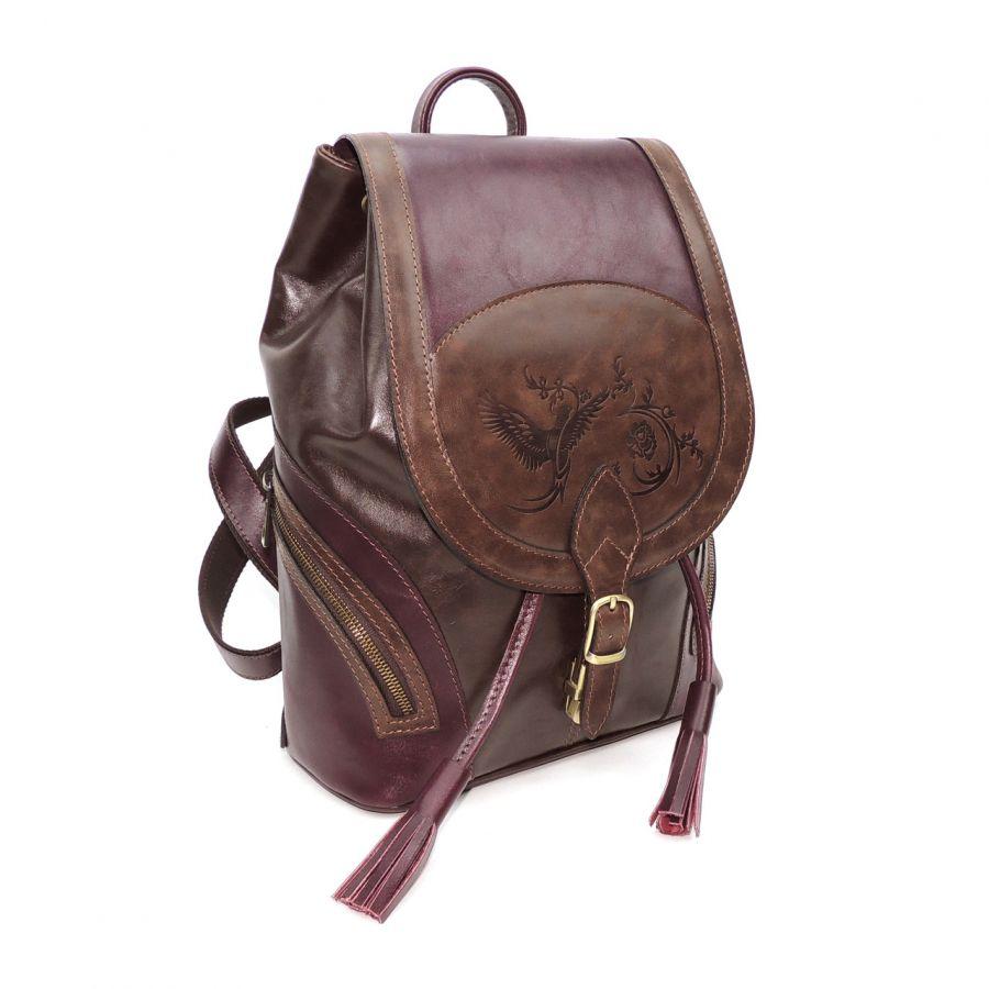 """Рюкзак кожаный вишнево-коричневый  """"Вива"""""""