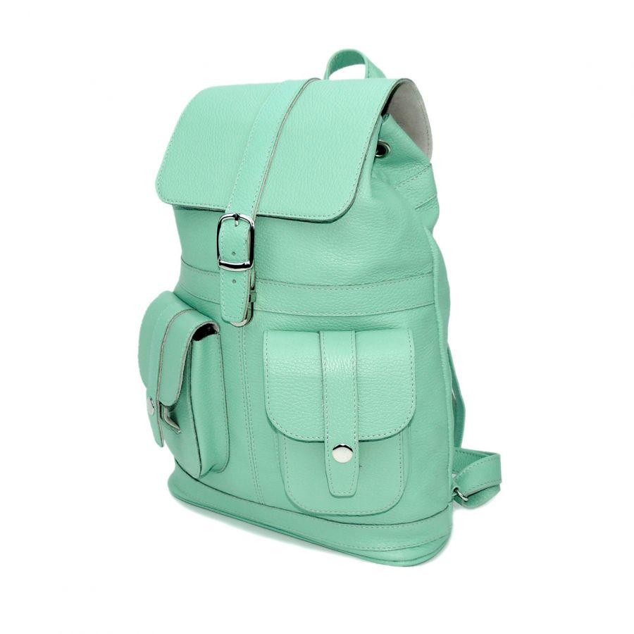 """Кожаный рюкзак женский зеленый  """"Цвет мяты"""""""