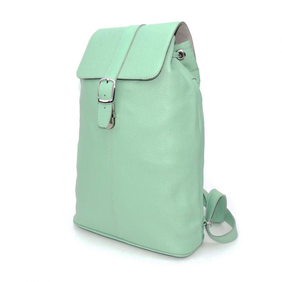 """Кожаный рюкзак женский зеленый  """"Ментоловый"""""""