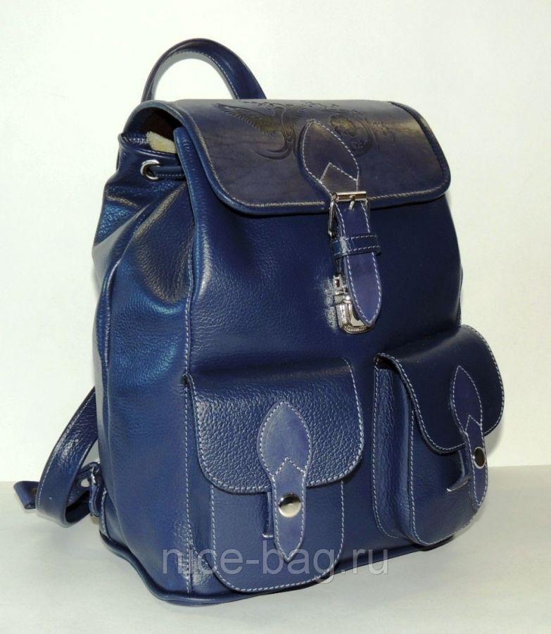 """Синий кожаный рюкзак  """"Синица"""""""