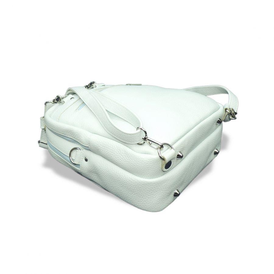 """Сумка рюкзак кожаная женская бело-голубая  """"Юланта"""""""