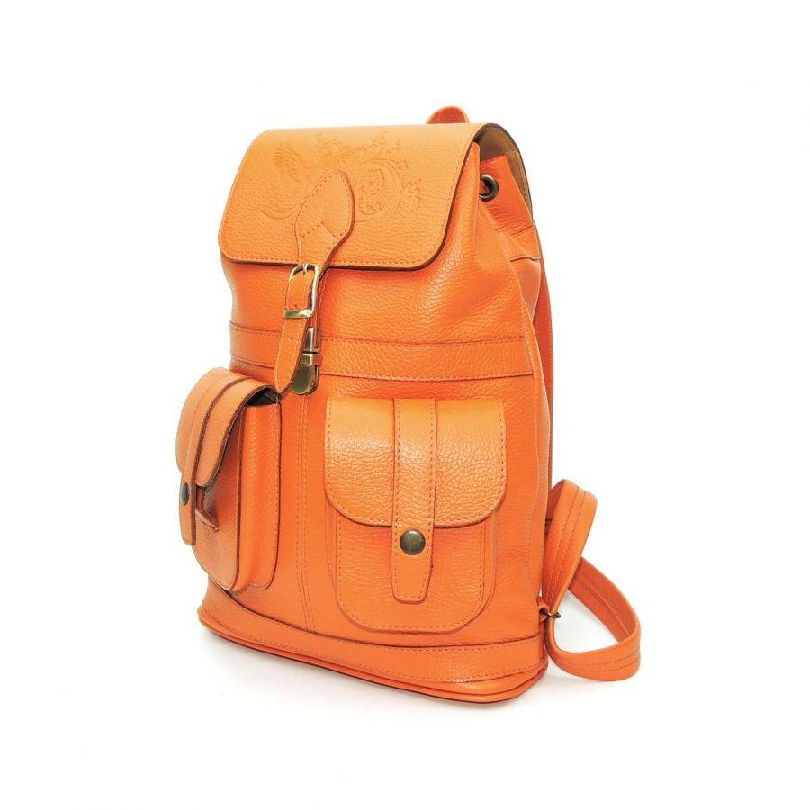 """Рюкзак кожаный оранжевый  """"Оранж"""""""