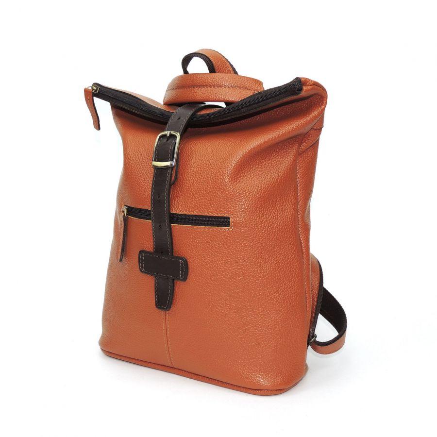 "Оранжевая кожаная сумка-рюкзак  ""Борнео"""