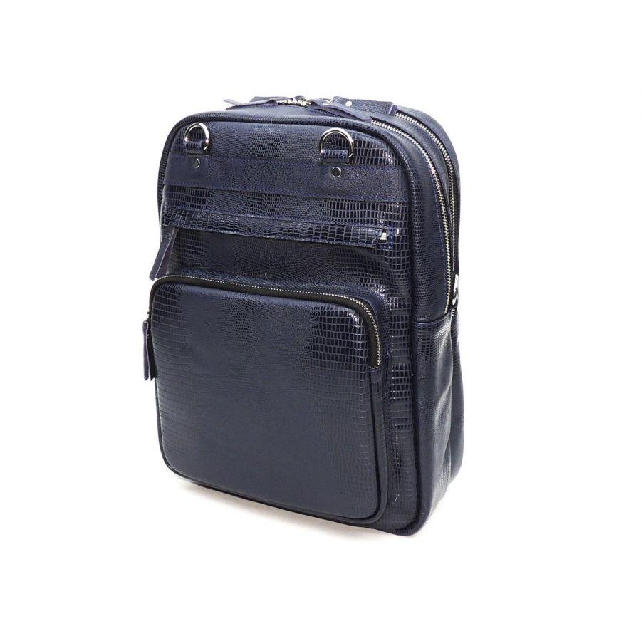 """Синяя кожаная сумка-рюкзак  """"Стейси"""""""