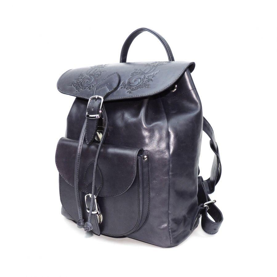 """Синий кожаный рюкзак  """"Полуночный индиго"""""""