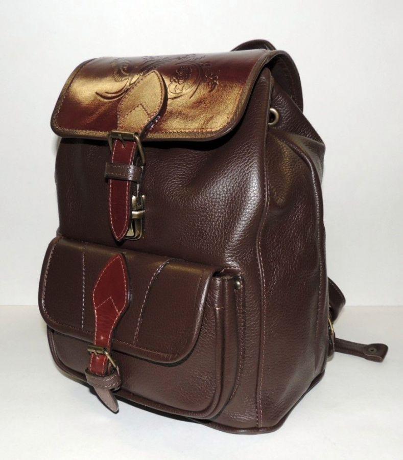 """Коричневый кожаный рюкзак  """"Осенний вальс"""""""