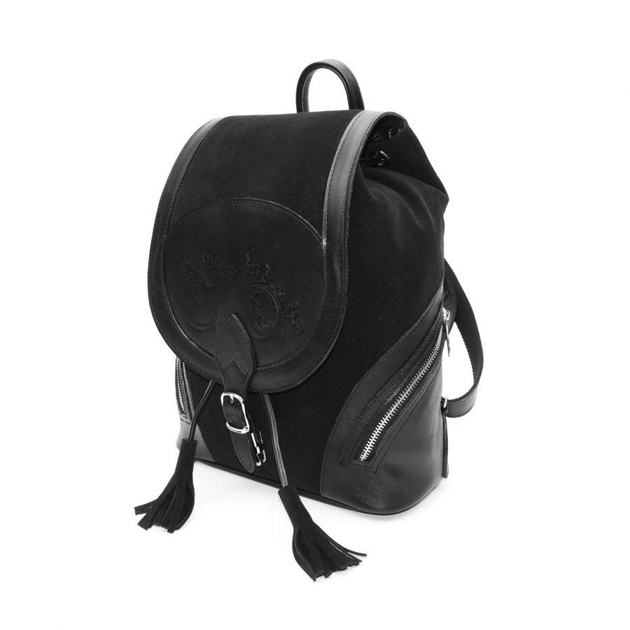 """Рюкзак кожаный черный  """"Рона"""""""