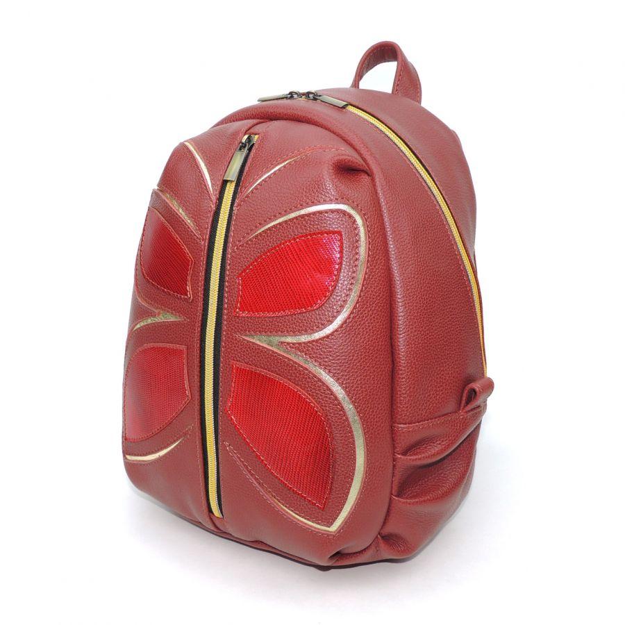 """Оригинальный бордовый кожаный рюкзак  """"Бабочка"""""""