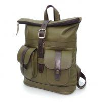 "Кожаный рюкзак хаки  ""Олива"""