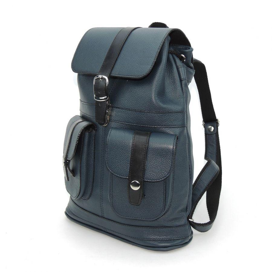 """Синий кожаный рюкзак  """"Эврика"""""""