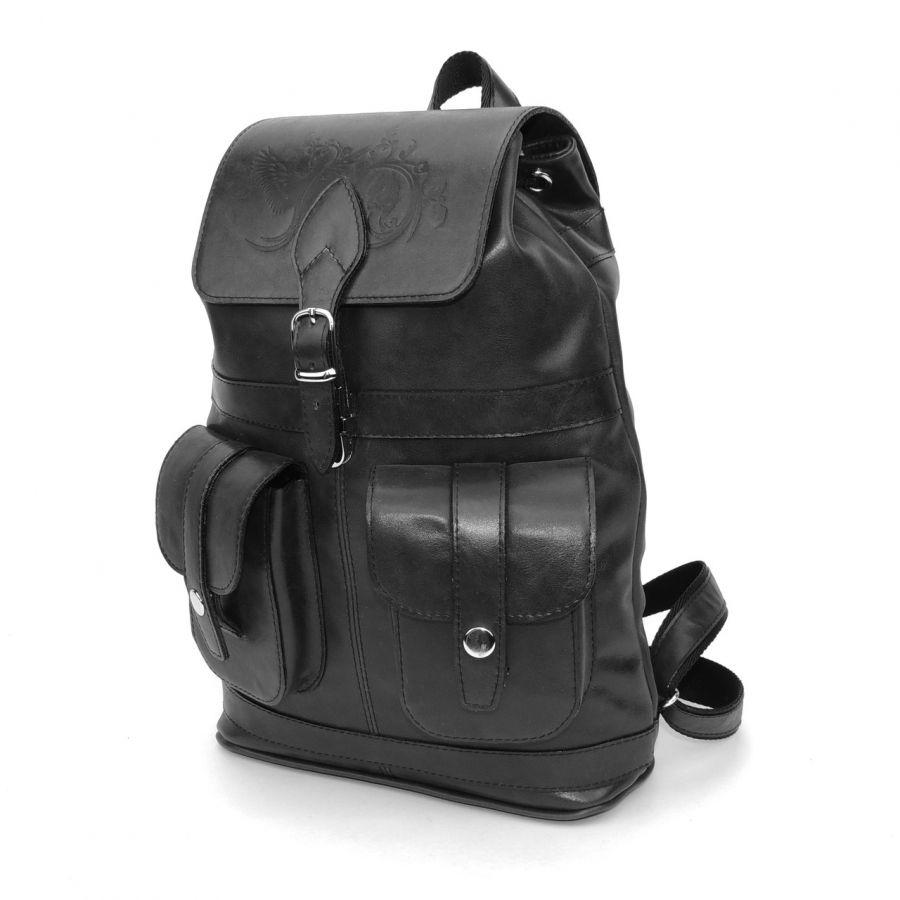 """Черный кожаный рюкзак  """"Черный лебедь"""""""