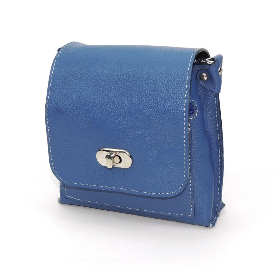 """Голубая кожаная сумка  """"Волна"""""""