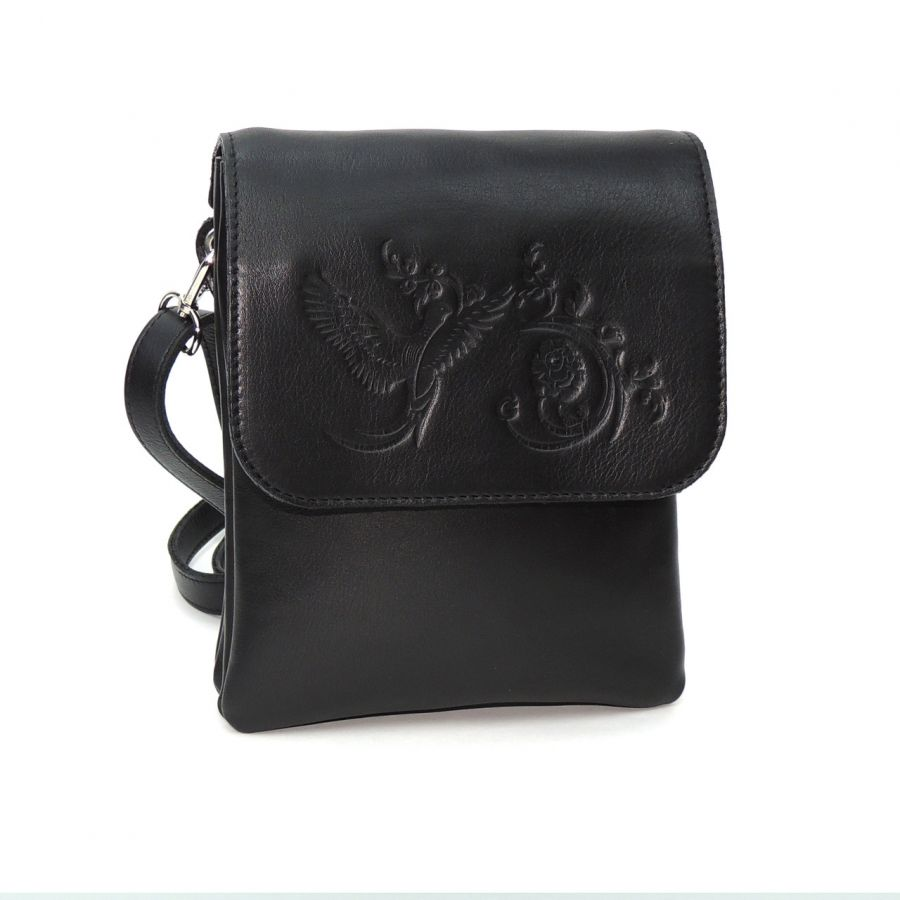 """Женская черная кожаная сумка  """"Румба"""""""