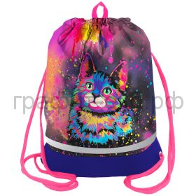 "Сумка для обуви Berlingo 40х51см ""Neon Cat"" расш.дно, светоотр.полоса, карман на молнии MS09443"
