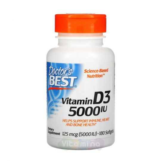 Doctor's Best Витамин D3  5 000 МЕ, 180 капсул