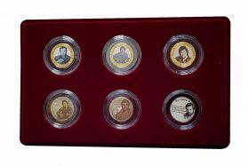 НАБОР 10+25 рублей рублей (6шт) — ВЛАДИМИР ВЫСОЦКИЙ, цветная эмаль + гравировка